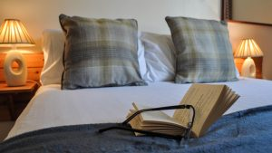 Comfortable double room in our Inner Hebridean self catering lodges, near Oban