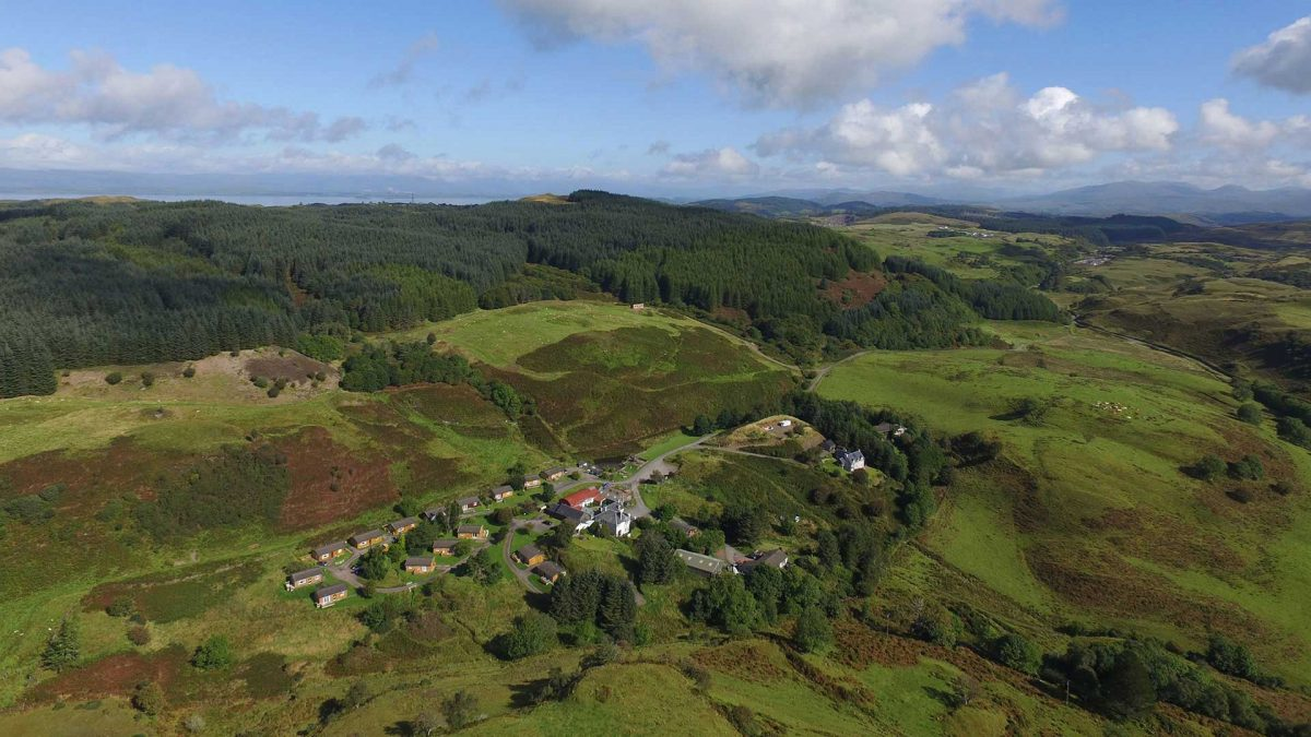 An aerial view of Cologin Self Catering Lodges & Cottages near Oban