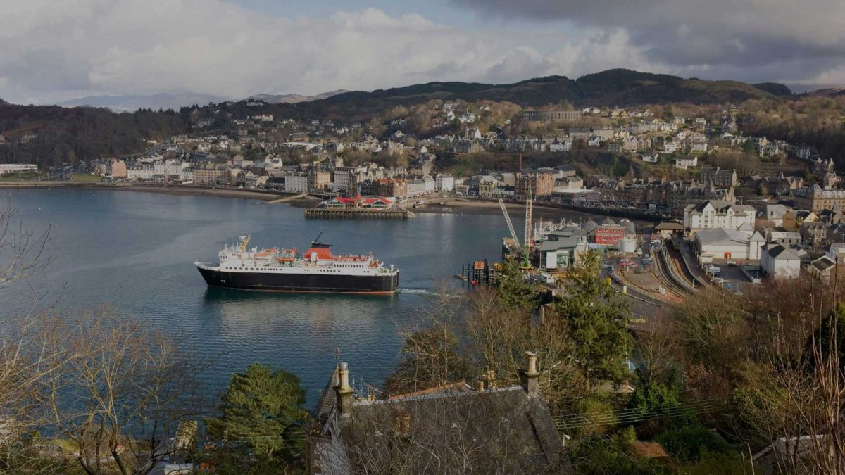 Caledonian MacBrayne ferry leaving Oban Harbour